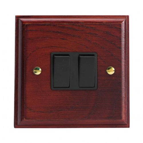 Varilight XK2MB Kilnwood Mahogany 2 Gang 10A 1 or 2 Way Rocker Light Switch